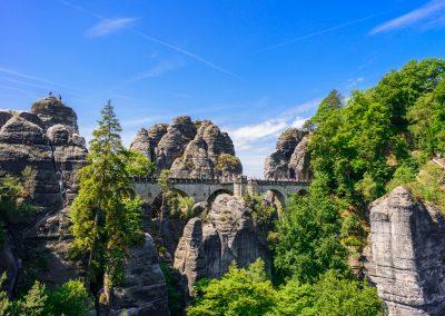 Bastei bridge in Saxon Switzerland in spring, Germany